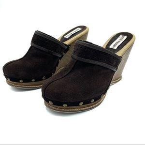Vintage Y2K Steve Madden suede leather clogs 7